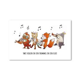 Minikaartje: twee violen en een trommel en een fluit...(M)