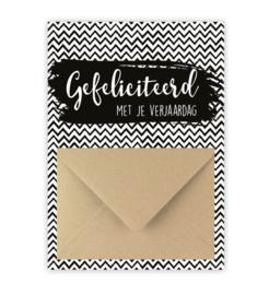 Geldkaart: gefeliciteerd met je verjaardag (zwart/wit)