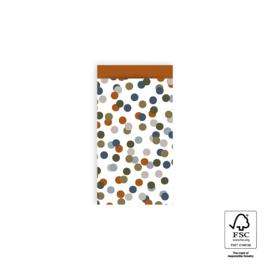 2 kleine kadozakjes gekleurde stippen  7 x 13 cm, (A7) inclusief sticker