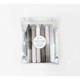 6 dompel dye-kaarsen: Shades of Grey