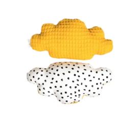Rammelaar wolk, wit & zwarte stippen & oker geel