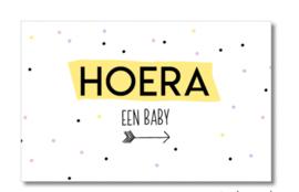 Minikaartje: HOERA een baby (M)
