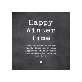 Dubbele kerstkaart, Happy winter time, christmastree