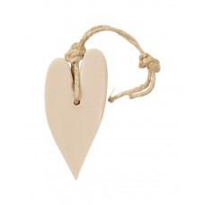 Zeep hanger hartje, XL licht taupe, inclusief houten labeltje