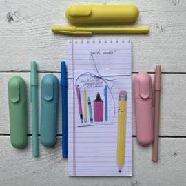 Schrijfblokje, incl pen, marker en label