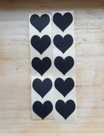 10 stickers, zwart hartje