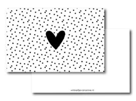 Minikaartje: hartje dots (W)
