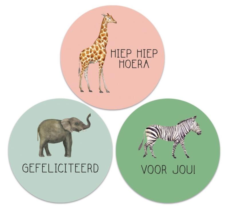2 x 3 kado stickers Ø 55 mm :dieren
