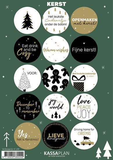 15 kado stickers kerst wit/zwart/goud