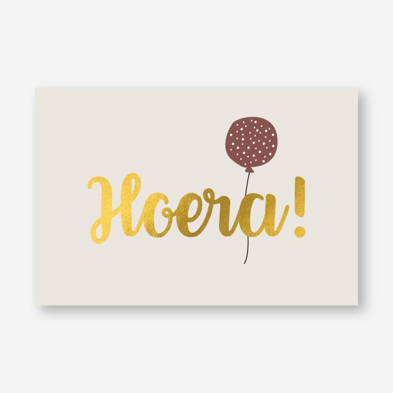 Minikaartje: Hoera! (goudfolie) (K)