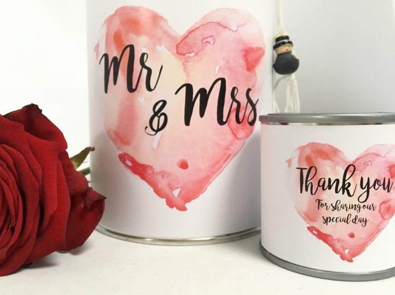 Kado blik: Mr & Mrs, inclusief gelukspoppetjes