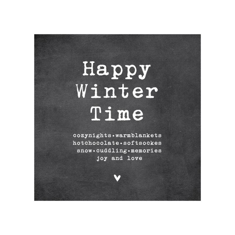 Dubbele kerstkaart, Happy winter time, cozynights