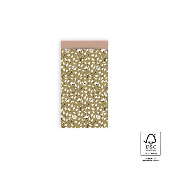 2 kleine kadozakjes olijf groen bloemen, (A7) inclusief sticker