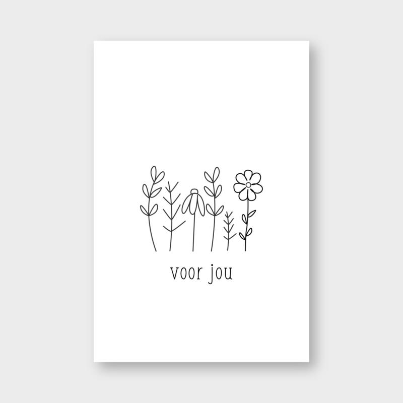 Mini kaartje: voor jou (bloemen) (K)