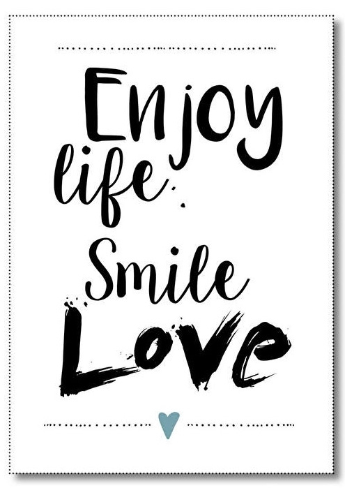 Poster A4, enjoy life smile love