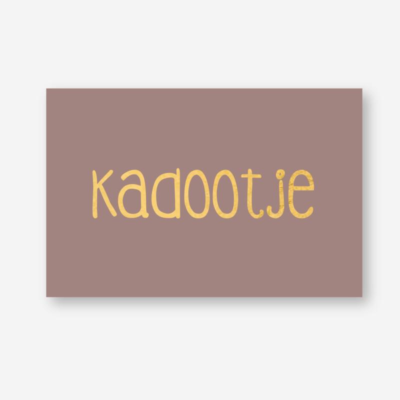 Minikaartje: KADOOTJE (goudfolie opdruk) (K)