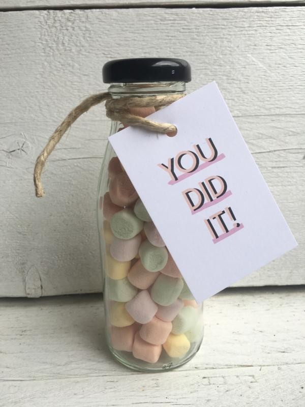 Glazen flesje gevuld met  spekjes, You did it!
