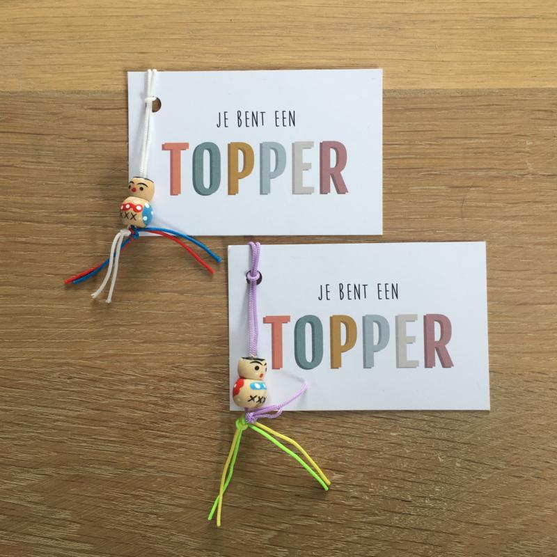 mini kaartje met gelukspoppetje: je bent een TOPPER (K)