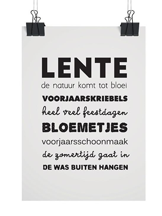 Woonkaart/poster A5, Lente