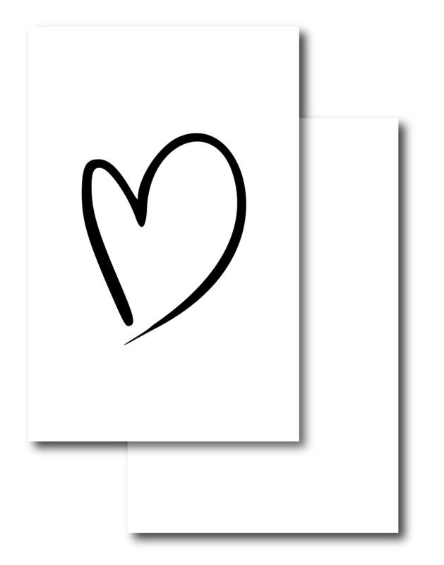 Mini kaartje, hart (wit) (W)