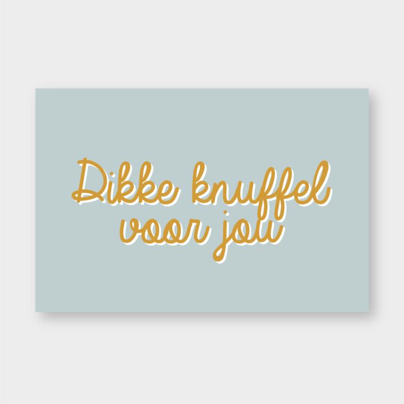 Mini kaartje: Dikke knuffel voor jou (licht blauw/oker) (K)