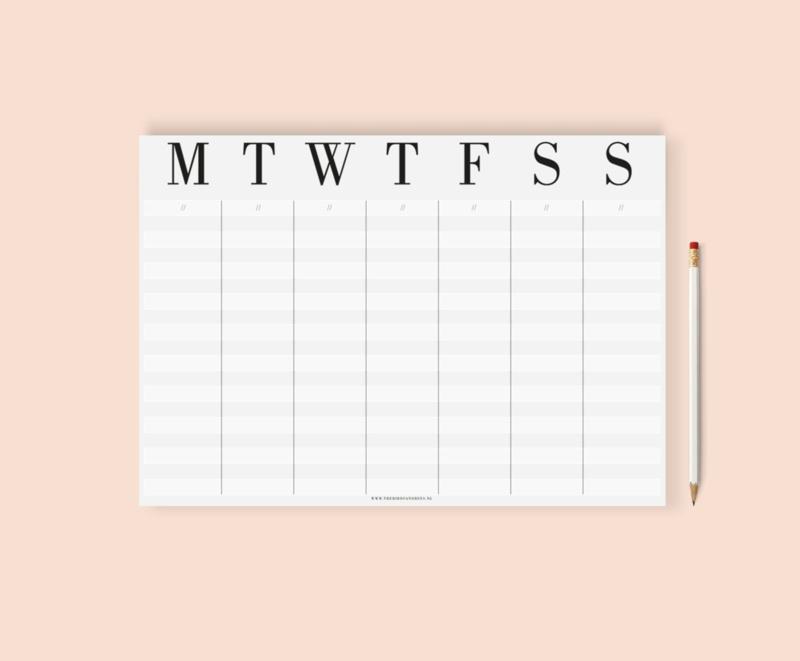 Hello week, weekplanner A4