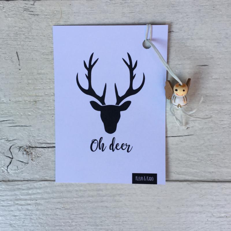Gelukskaartje: Kerst, oh deer