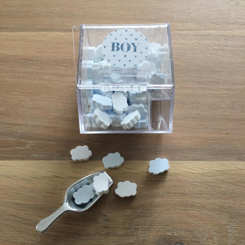 snoepbakje + schepje incl blauw/witte 'wolk' snoepjes: it's a boy