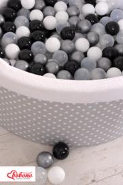 Ballenbadje XL grijs wit bol + 200 ballen naar keuze