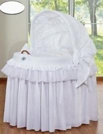 Rieten wieg met kap Luxe wit prince/princess