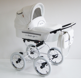 RETRO kinderwagen wit eco leder 3in1