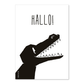 A6 Krokodil Hallo! zwart/wit