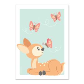 A4 Hertje met vlinders