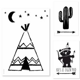 Set zwart/wit indianenposters