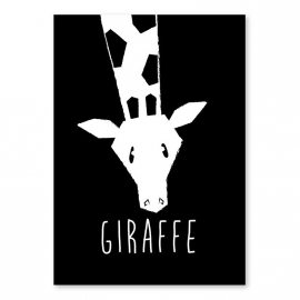 A6 Giraffe schwarz-weiß
