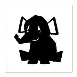 21x21 Elefant schwarz-weiß