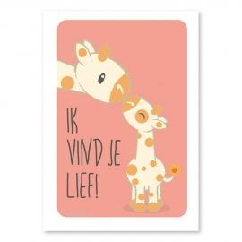 A4 Giraffe 'ik vind je lief'