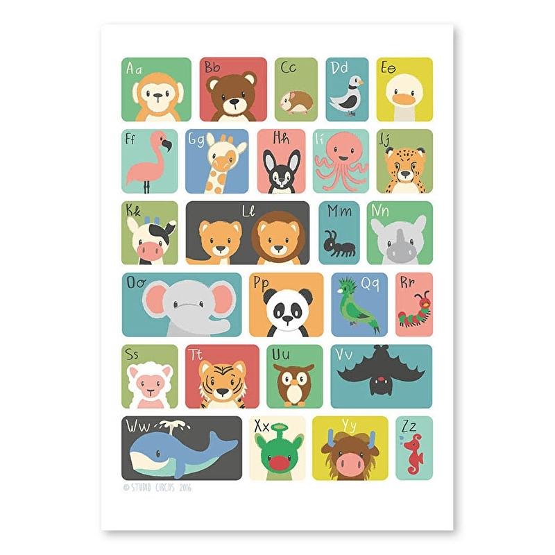 ABC poster dieren 50x70cm