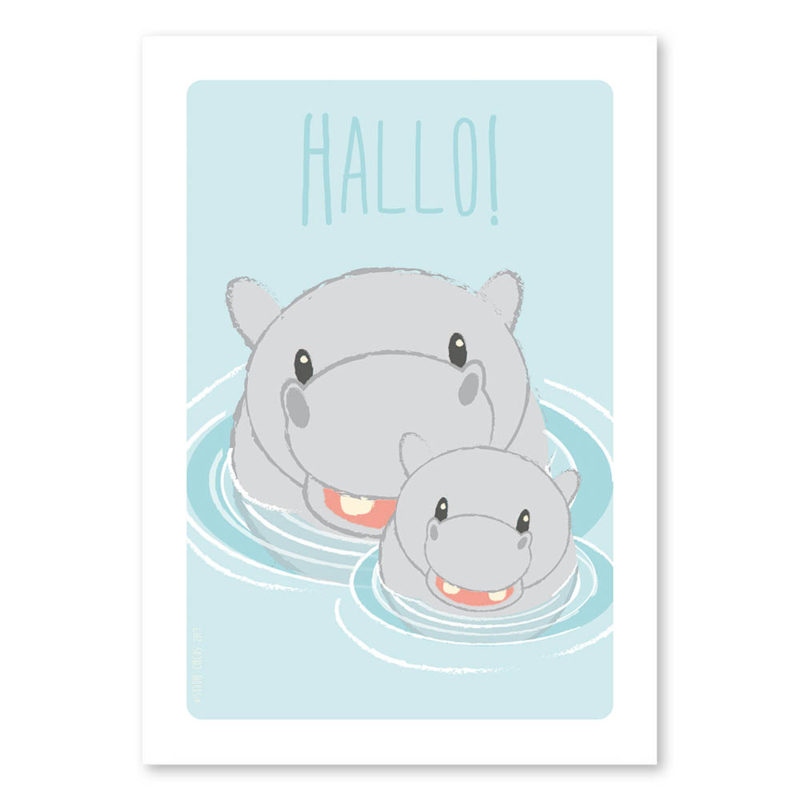 A6 Nijlpaardfamilie 'hallo'