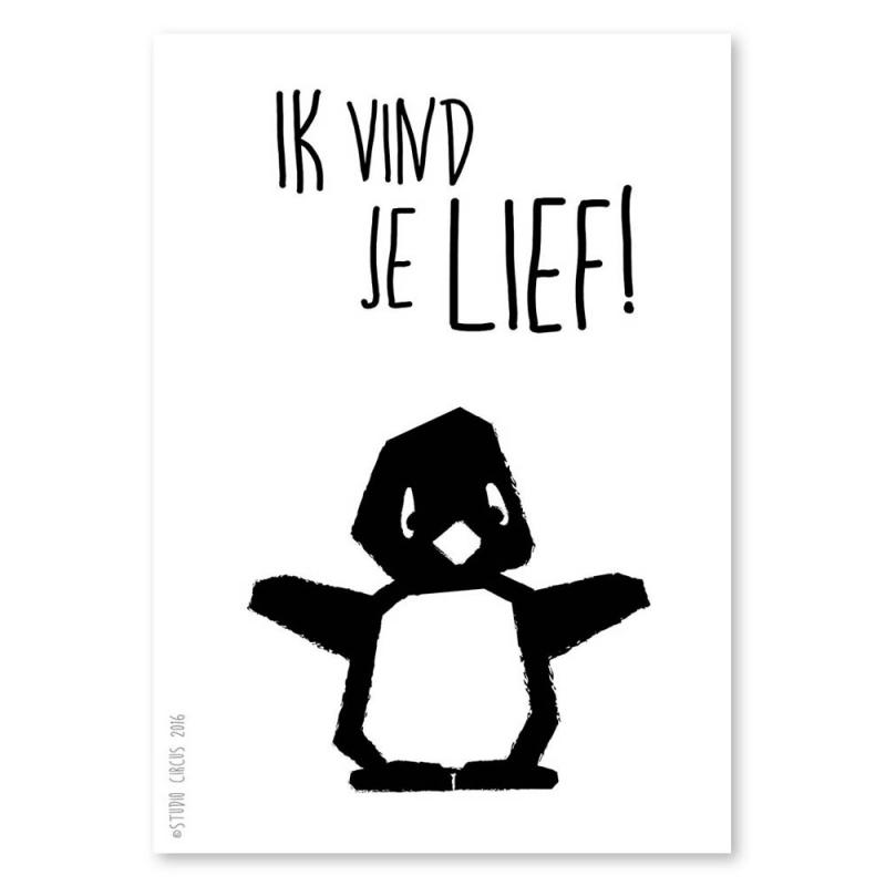 A4 Pinguïn 'ik vind je lief'