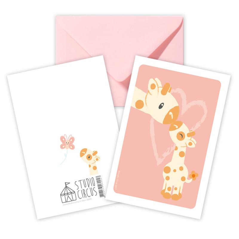 A6 Giraffe mit Umschlag