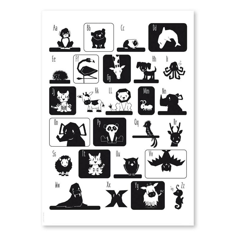 ABC poster zwart/wit 50x70cm