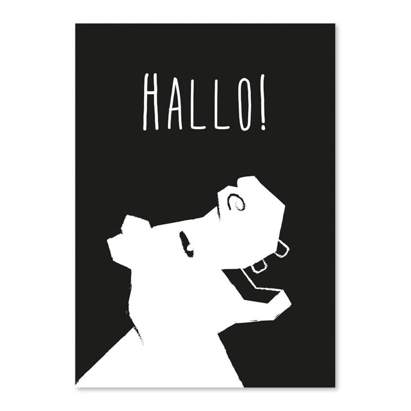 A4 Nilpferd 'Hallo'