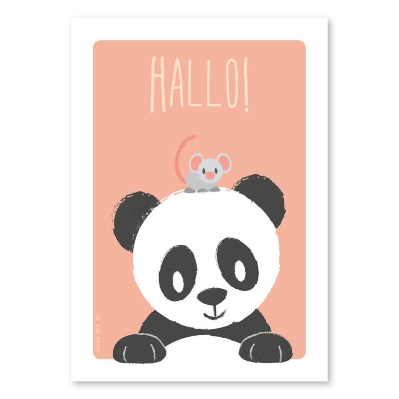 A4 Panda en muis 'hallo'