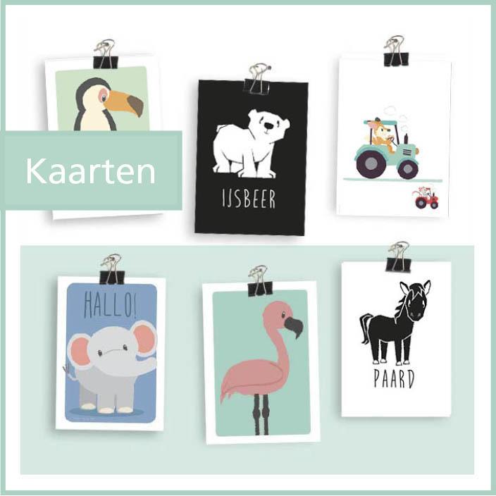 kaartjes ophangen post collage inlijsten kinderkamer dieren