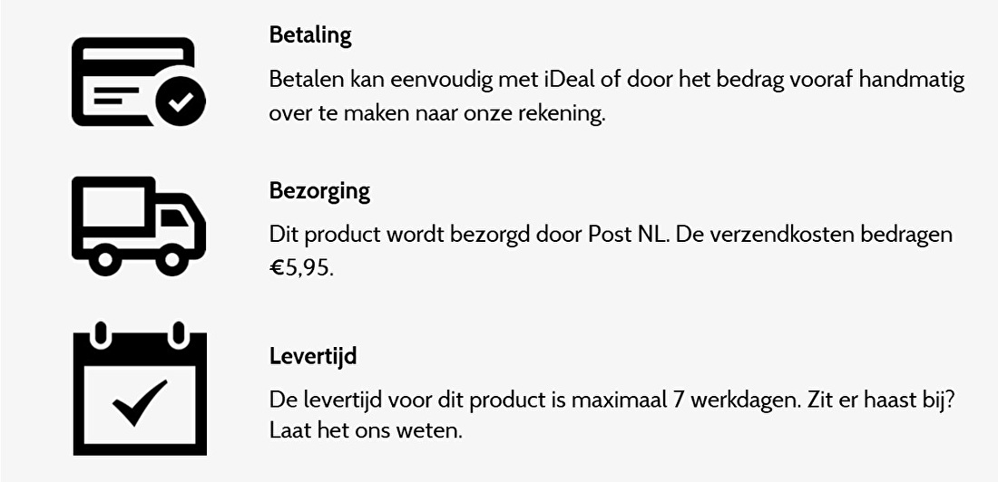 iconen betaling bezorging levertijd maatwerk