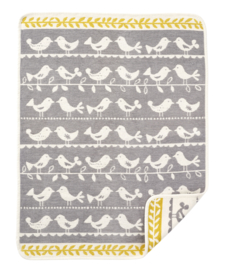 Wiegdeken chenille katoen Birds grijs