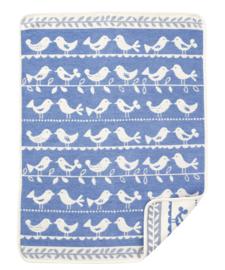 Wiegdeken chenille katoen Birds blauw