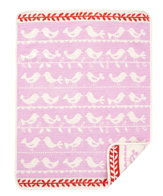 Wiegdeken chenille katoen Birds roze
