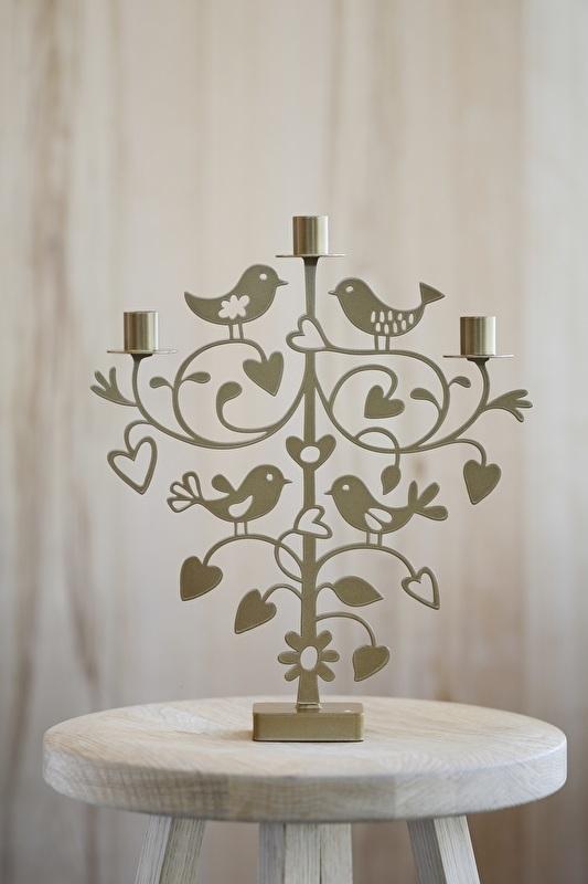 Kandelaar Love Birds metallic